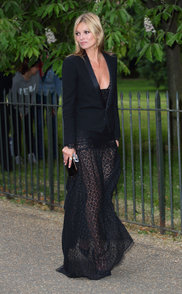 la-modella-mafia-Kate-Moss-in-a-black-Saint-Laurent-sheer-printed-dress-and-blazer-1